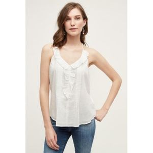New Anthropologie Ruffled Mora Tank by Les WHITE S